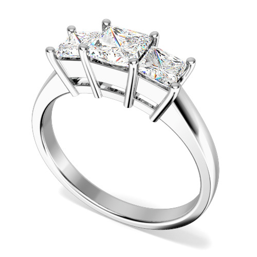 Inel de logodna/Inel cu 3 Diamante Dama Aur Alb 18kt cu 3 Diamante Princess