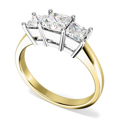 Inel de logodna/Inel cu 3 Diamante Dama Aur Galben si Aur Alb 18kt cu 3 Diamante Princess