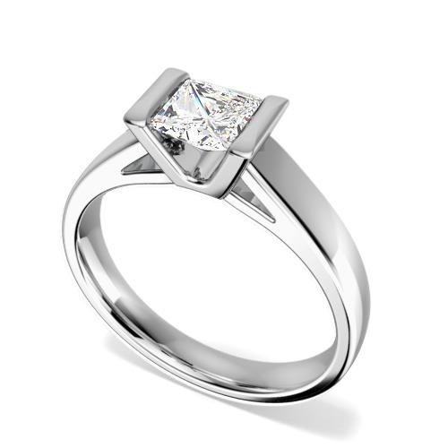 Inel de Logodna Solitaire Dama Platina cu un Diamant Princess in Setare Tip Bara