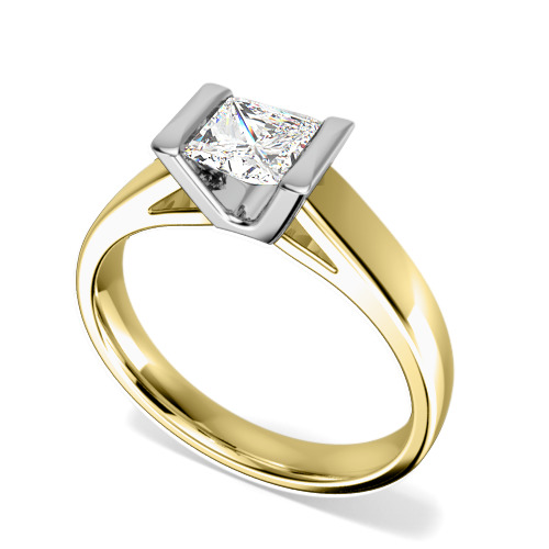 Inel de Logodna Solitaire Dama Aur Galben & Aur Alb 18kt cu un Diamant Princess in Setare Tip Bara