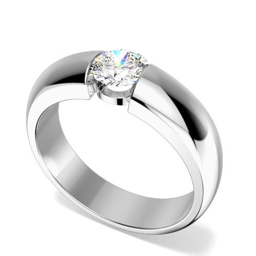 Inel de Logodna Solitaire Dama Aur Alb 9kt cu Diamant Rotund Briliant in Setare Tensionata