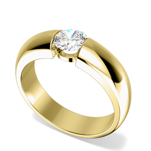 Inel de Logodna Solitaire Dama Aur Galben 18kt cu Diamant Rotund Briliant in Setare Tensionata