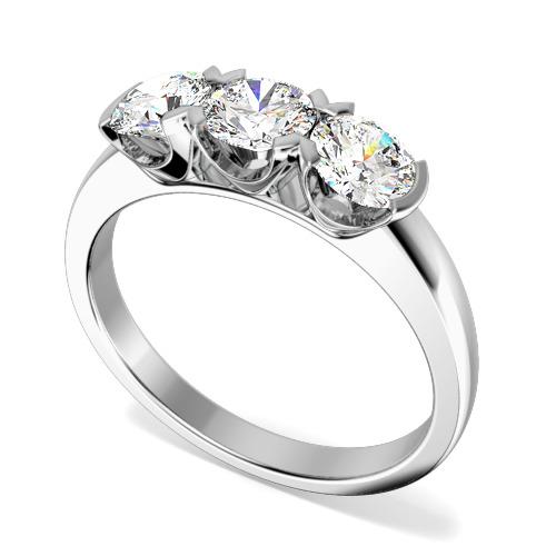 Inel de logodna/Inel cu 3 Diamante Dama Aur Alb 18kt cu 3 Diamante Rotund Briliant in Setare Gheare