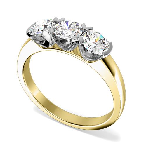 Inel de logodna/Inel cu 3 Diamante Dama Aur Galben si Aur Alb 18kt cu 3 Diamante Rotund Briliant in Setare Gheare