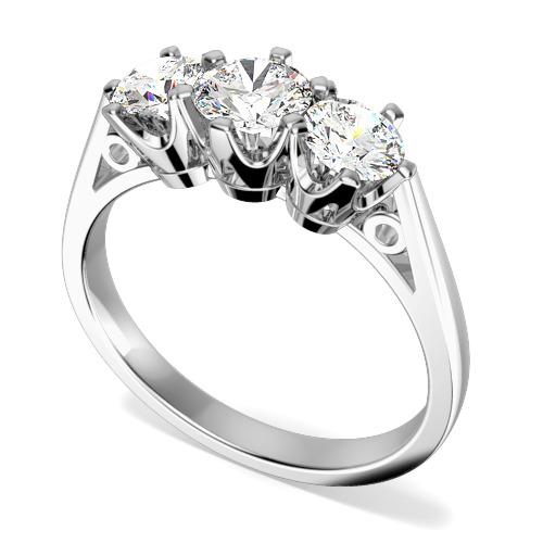 Inel cu 3 Diamante Dama Aur Alb 18kt cu Diamante Rotunde in Setare 6-Gheare