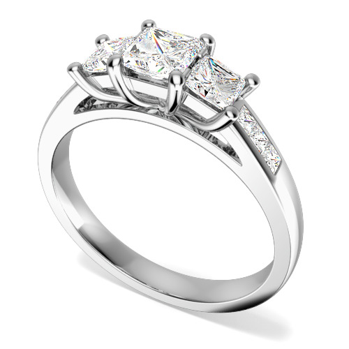 Inel de Logodna cu 3 Diamante Dama Aur Alb 18kt cu 3 Diamante Princess & Diamante pe Margini