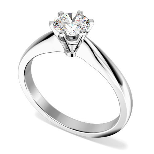 Inel de Logodna Solitaire Dama Aur Alb 18kt cu un Diamant Rotund Briliant in Setare cu 6 Gheare
