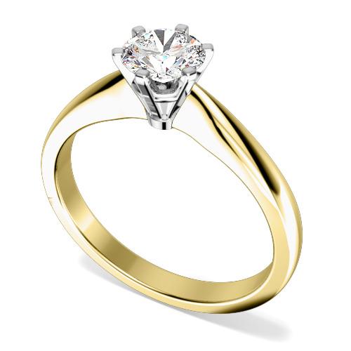 Inel de Logodna Solitaire Dama Aur Galben si Alb 18kt cu un Diamant Rotund Briliant in Setare cu 6 Gheare