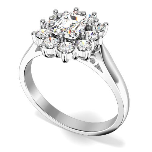 Inel de logodna cu Diamante Dama Platina cu Diamant Central Forma Smarald si Diamante Rotunde de Jur Imprejur