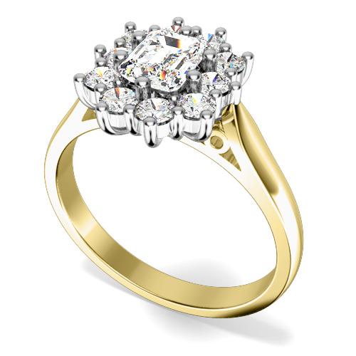 Inel de logodna cu Diamante Dama Aur Galben si Aur Alb 18kt cu Diamant Central Forma Smarald si Diamante Rotunde de Jur Imprejur
