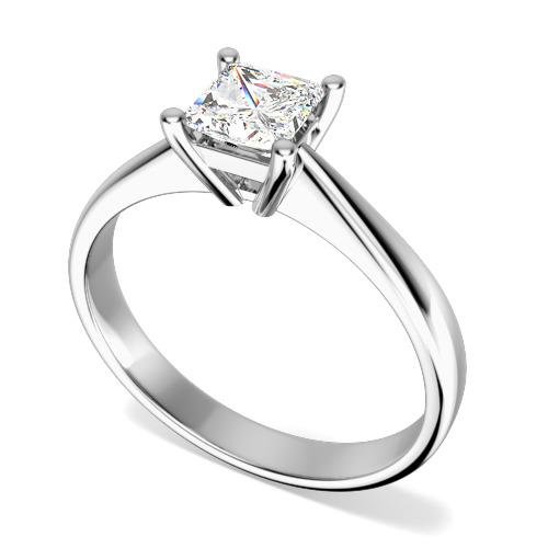 Inel de Logodna Solitaire Dama Aur Alb 18kt cu un Diamant Forma Princess in Setare 4-Gheare