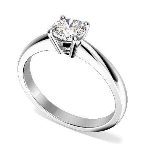 Inel de Logodna Solitaire Dama Aur Alb 18kt cu un Diamant Rotund Briliant in Setare cu 4 Gheare