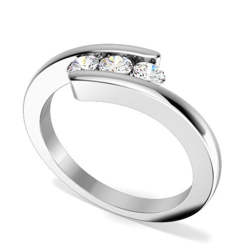 Inel de Logodna cu 3 Diamante Dama Aur Alb 18kt cu 3 Diamante Rotund Briliant, Inel Twist