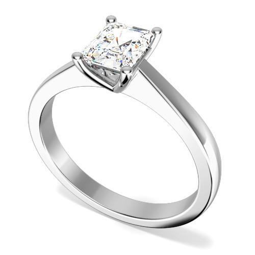 Inel de Logodna Solitaire Dama Aur Alb 18kt cu un Diamant Forma Smarald, Facut sa se Potriveasca cu Verigheta