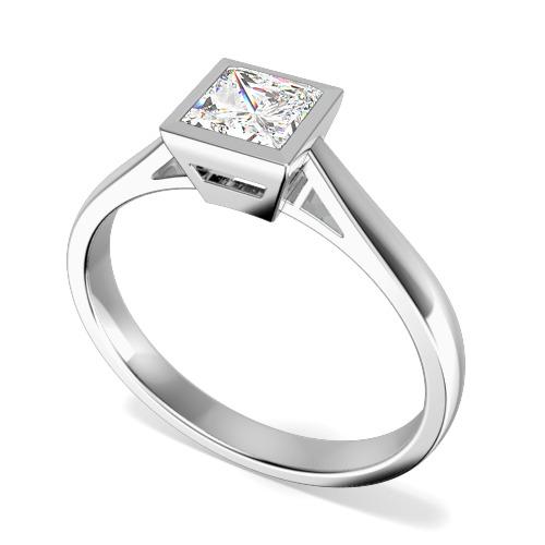 Inel de Logodna Solitaire Dama Aur Alb 18kt cu un Diamant Princess in Setare Rub Over