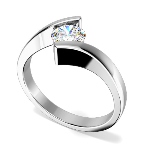 Inel de Logodna Solitaire Dama Aur Alb 18kt cu un Diamant Rotund Briliant in Setare Tensionata, Inel Twist
