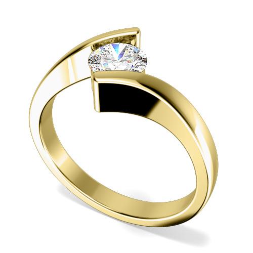 Inel de Logodna Solitaire Dama Aur Galben 18kt cu un Diamant Rotund Briliant in Setare Tensionata, Inel Twist