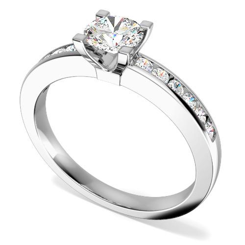 Inel de Logodna Solitaire cu Diamante Mici pe Lateral Dama Aur Alb 18kt cu un Diamant Central Rotund si 12 Diamante Rotunde Mici