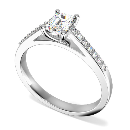 Inel de Logodna Solitaire cu Diamante Mici pe Lateral Dama Aur Alb 18kt cu Diamant Central Forma Smarald si Diamante Rotunde pe Lateral