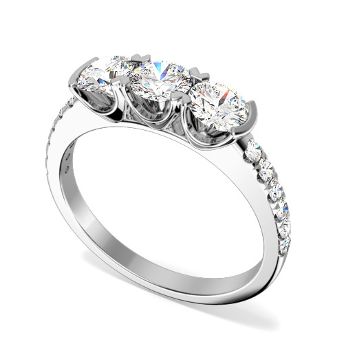 Inel de logodna/Inel cu 3 Diamante Dama Aur Alb 18kt cu 3 Diamante Rotund Briliant si Diamante pe Lateral