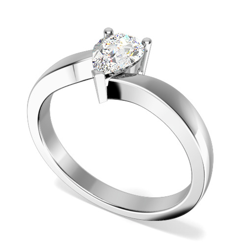Inel de Logodna Solitaire Dama Aur Alb 18kt cu un Diamant Forma Para in Setare Gheare, Inel Twist