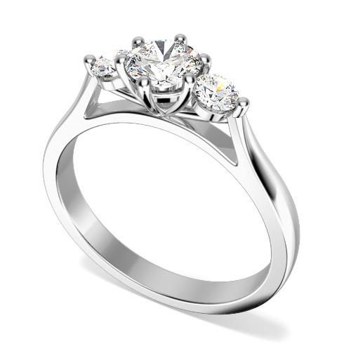 Inel de Logodna Solitaire cu Diamante Mici pe Lateral Dama Aur Alb 18kt cu 3 Diamante Rotund Briliant in Setare Gheare