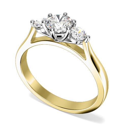 Inel de Logodna Solitaire cu Diamante Mici pe Lateral Dama Aur Galben si Aur Alb 18kt cu 3 Diamante Rotund Briliant in Setare Gheare