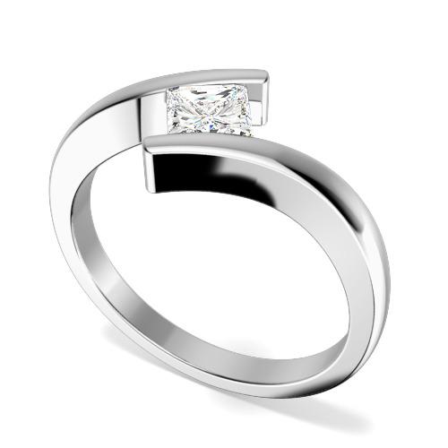 Inel de Logodna Solitaire Dama Aur Alb 18kt cu un Diamant Princess in Setare Tensionata, Inel Twist
