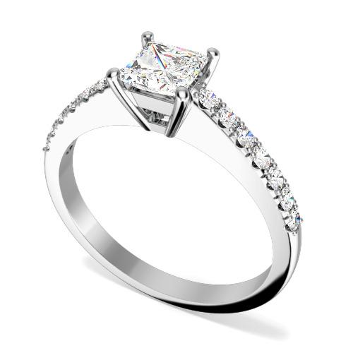 Inel de Logodna Solitaire cu Diamante Mici pe Lateral Dama Aur Alb 18kt cu un Diamant Central Princess si 7 Diamante Rotund Briliant pe Fiecare Parte