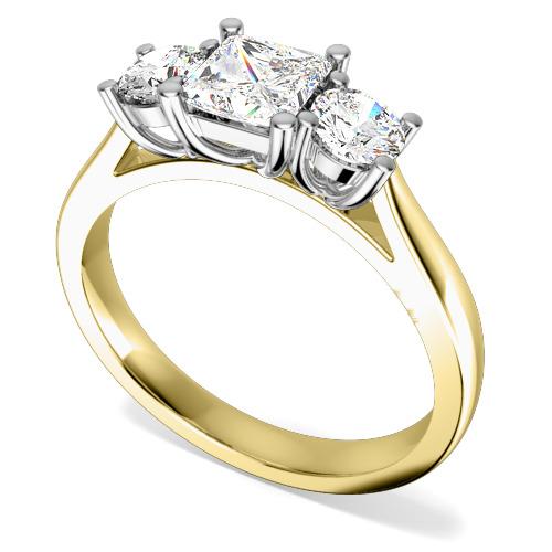 Inel de Logodna cu 3 Diamante Dama Aur Galben si Aur Alb 18kt cu un Diamant Princess si 2 Diamante Rotund Briliant pe fiecare Parte