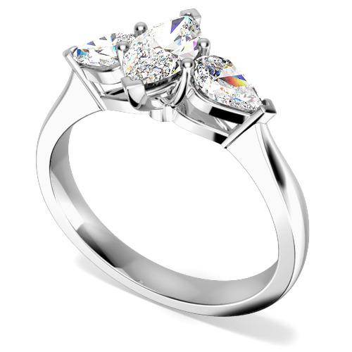 Inel de Logodna Solitaire cu Diamante Mici pe Lateral/cu 3 Diamante Dama Aur Alb 18kt cu un Diamant Forma Marchiza si 2 Diamante in Forma de Para