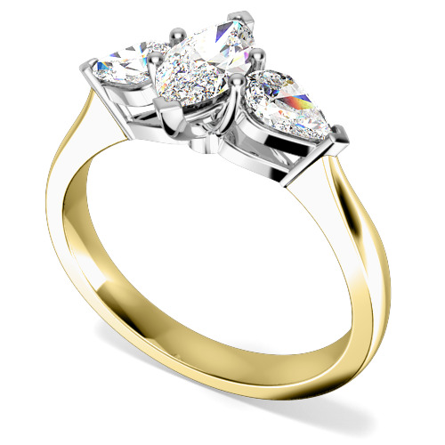 Inel de Logodna Solitaire cu Diamante Mici pe Lateral/cu 3 Diamante Dama Aur Galben si Aur Alb 18kt cu un Diamant Forma Marchiza si 2 Diamante in Forma de Para
