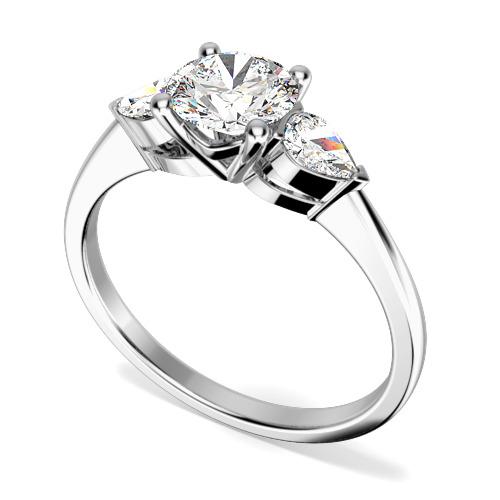 Inel de logodna/Inel cu 3 Diamante Dama Aur Alb 18kt cu un Diamant Rotund Briliant si 2 Diamante Laterale Forma Para