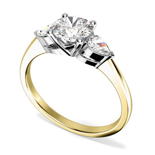 Inel de logodna/Inel cu 3 Diamante Dama Aur Galben si Aur Alb 18kt cu un Diamant Rotund Briliant si 2 Diamante Laterale Forma Para