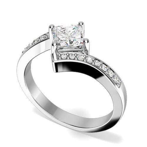 Inel de Logodna Solitaire cu Diamante Mici pe Lateral Dama Aur Alb 18kt cu un Diamant Princess in Centru si Diamante Rotunde, Inel Twist