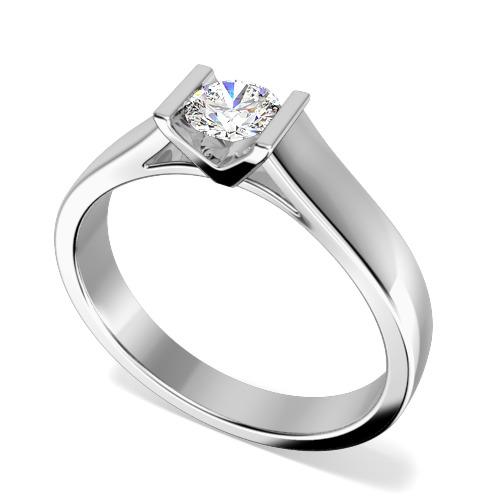 Inel de Logodna Solitaire Dama Platina cu un Diamant Rotund Briliant in Setare Bara