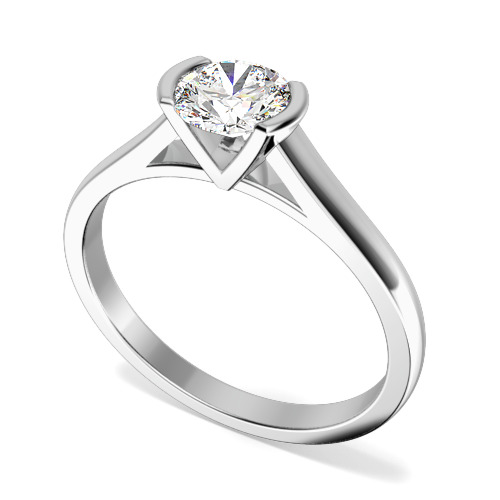 Inel de Logodna Solitaire Dama Platina cu Diamant Rotund Briliant in Setare Bara
