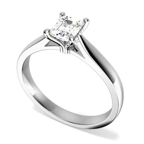 Inel de Logodna Solitaire Dama Aur Alb 18kt cu un Diamant Forma Smarald