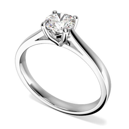 Inel de Logodna Solitaire Dama Aur Alb 18kt cu un Diamant Taietura Rotund Briliant