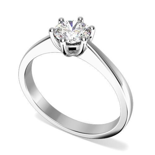 Inel de Logodna Solitaire Dama Platina cu un Diamant Rotund Briliant in Setare 6 Gheare