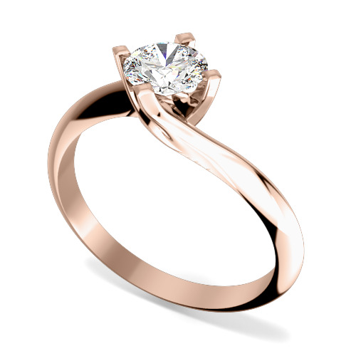 Inel de Logodna Solitaire Dama Aur Roz 18kt cu Diamant Rotund Briliant in Setare Gheare, Montura Rasucita