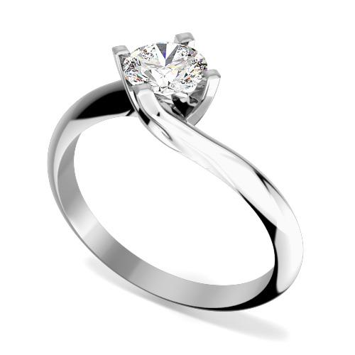 Inel de Logodna Solitaire Dama Aur Alb 18kt cu Diamant Rotund Briliant in Setare Gheare, Montura Rasucita