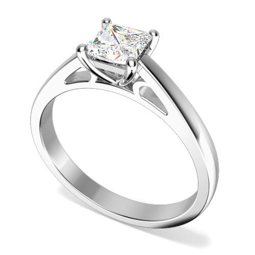 Inel de Logodna Solitaire Dama Aur Alb 18kt cu un Diamant Princess in Setare 4 Gheare, cu Banda de 2.3mm