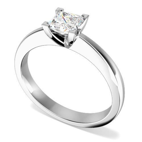 Inel de Logodna Solitaire Dama Aur Alb 18kt cu un Diamant Forma Princess Setat cu 4 Gheare