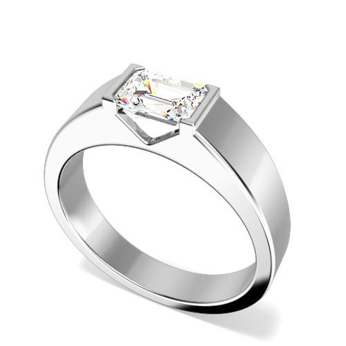 Inel de Logodna Solitaire Dama Aur Alb 18kt cu un Diamant Forma Smarald in Setare Tip Bara, cu Banda Lata