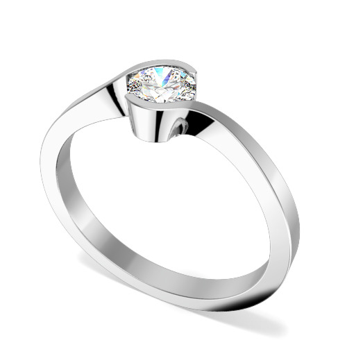 Inel de Logodna Solitaire Dama Aur Alb 18kt cu un Diamant Rotund Briliant in Setare Rub Over, Inel Twist