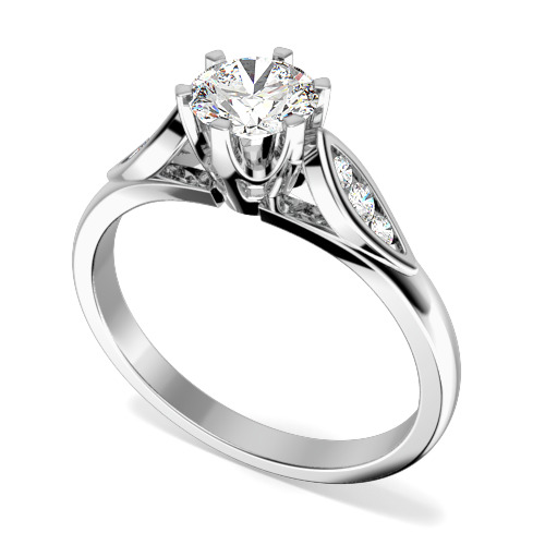 Inel de Logodna Solitaire cu Diamante Mici pe Lateral Dama Aur Alb 18kt cu un Diamant Rotund Briliant in Setare Gheare si Diamante Rotunde pe Lateral