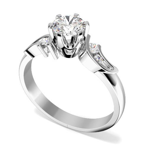 Inel de Logodna Solitaire cu Diamante Mici pe Lateral Dama Aur Alb 18kt cu un Diamant Rotund Briliant si Diamante Rotunde pe Lateral