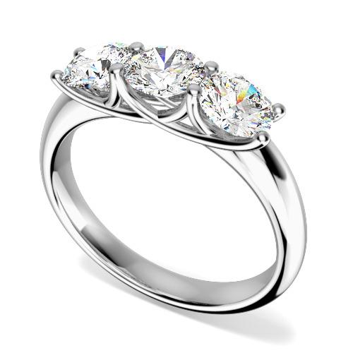 Inel de logodna/Inel cu 3 Diamante Dama Aur Alb 18kt cu 3 Diamante Rotund Briliant Setate cu Gheare