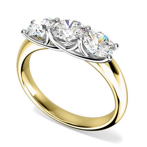 Inel de logodna/Inel cu 3 Diamante Dama Aur Galben si Aur Alb 18kt cu 3 Diamante Rotund Briliant Setate cu Gheare